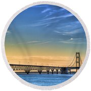 Mackinac Sunset Round Beach Towel
