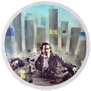 Mad Men Disintegration Of Don Draper Round Beach Towel