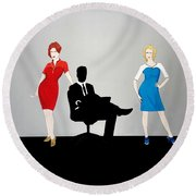 Mad Men In Technicolor Round Beach Towel