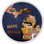 Made In Michigan Products Vintage Map On Wood Round Beach Towel