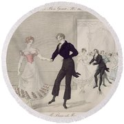 Mademoiselle Busc And Monsieur Corset Round Beach Towel