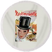 Mademoiselle Cover Featuring A Female Equestrian Round Beach Towel