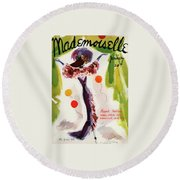 Mademoiselle Cover Featuring A Model Wearing Round Beach Towel by Helen Jameson Hall