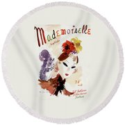 Mademoiselle Cover Featuring A Woman Round Beach Towel