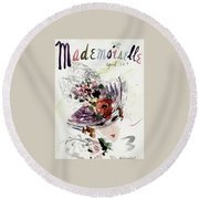 Mademoiselle Cover Featuring An Illustration Round Beach Towel by Helen Jameson Hall