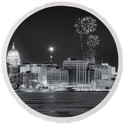 Madison - Wisconsin -  New Years Eve Panorama Black And White Round Beach Towel by Steven Ralser