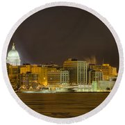 Madison - Wisconsin City  Panorama - No Fireworks Round Beach Towel