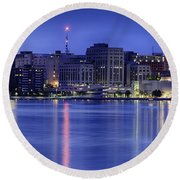 Round Beach Towel featuring the photograph Madison Skyline Reflection by Sebastian Musial