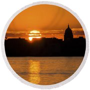 Madison Sunset Round Beach Towel by Steven Ralser