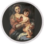 Round Beach Towel featuring the painting Madona And Child by Mukta Gupta