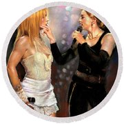 Madonna And Britney Spears  Round Beach Towel