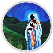 Madonna And Child  Hope For The World Round Beach Towel