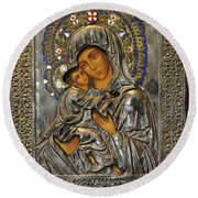 Madonna And Child Round Beach Towel by Jay Milo