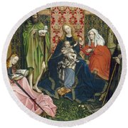 Madonna And Child With Saints In The Enclosed Garden Round Beach Towel
