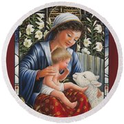 Madonna Of The Lilies Round Beach Towel