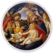 Madonna Of The Magnificat Round Beach Towel
