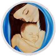 Madonna Of The Sea Round Beach Towel