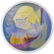 Madonna With A Cat Round Beach Towel by Marina Gnetetsky