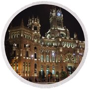 Madrid City Hall At Night Round Beach Towel