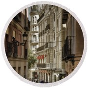 Madrid Streets Round Beach Towel