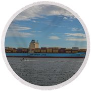 Ocean Going Freighter Round Beach Towel