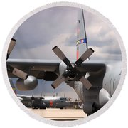 Round Beach Towel featuring the photograph Maffs C-130s At Cheyenne by Bill Gabbert