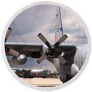 Maffs C-130s At Cheyenne Round Beach Towel