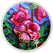Magenta Fleur Symphonic Zoo I Round Beach Towel by Genevieve Esson