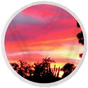 Round Beach Towel featuring the photograph Magenta Sunset by DigiArt Diaries by Vicky B Fuller