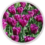 Round Beach Towel featuring the photograph Magenta Tulips by Allen Beatty