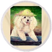 Maggie   Straw Hat Round Beach Towel