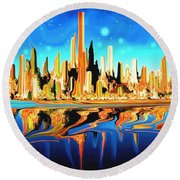 New York Skyline In Blue Orange - Abstract Art Round Beach Towel by Art America Gallery Peter Potter