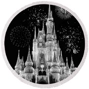 Magic Kingdom Castle In Black And White With Fireworks Walt Disney World Round Beach Towel by Thomas Woolworth