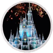 Magic Kingdom Castle In Frosty Light Blue With Fireworks 03 Round Beach Towel