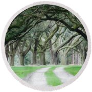 Magic Live Oaks Round Beach Towel by Patricia Greer