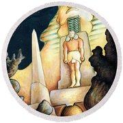Magic Vegas Sphinx - Fantasy Art Painting Round Beach Towel