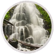 Magical Falls - Fairy Falls In The Columbia River Gorge Area Of Oregon Round Beach Towel