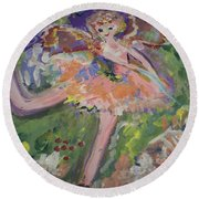 Round Beach Towel featuring the painting Magical Maggie The Fairy by Judith Desrosiers