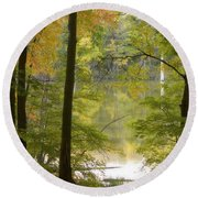 Magical Maplewood Round Beach Towel by Penny Meyers