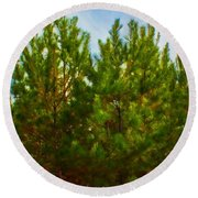 Magical Pines Round Beach Towel