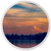 Magical Sunset At The Lake Round Beach Towel