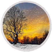 Magical Winter Sunset Round Beach Towel