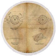 Magneto System Blueprint Round Beach Towel