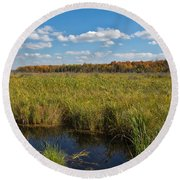 Magnificent Minnesota Marshland Round Beach Towel