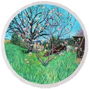 Magnolia Blooming At The Farm Round Beach Towel