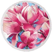 Magnolia Medley Round Beach Towel by Barbara Jewell