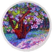 Magnolia Melody Round Beach Towel by Jane Small