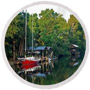 Magnolia Red Boat Round Beach Towel