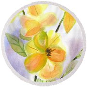 Round Beach Towel featuring the painting Magnolias Gentle by Kip DeVore