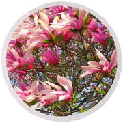 Round Beach Towel featuring the photograph Blooming Pink Magnolias by Dora Sofia Caputo Photographic Art and Design